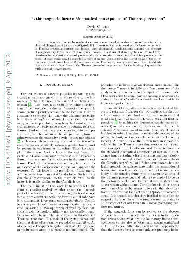 David C. Lush - The Magnetic Force as a Kinematical Consequence of the Thomas Precession