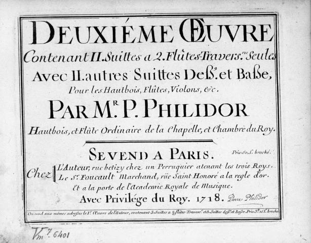 Pierre Danican Philidor - 2 Suites for Two Flutes and 2 Suites for Treble and Bass, Op.2